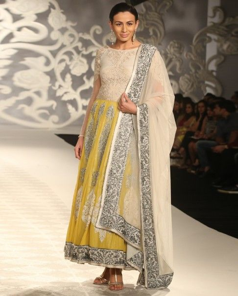 Embellished Poppy Yellow Anarkali Suit - Varun Bahl - Designers
