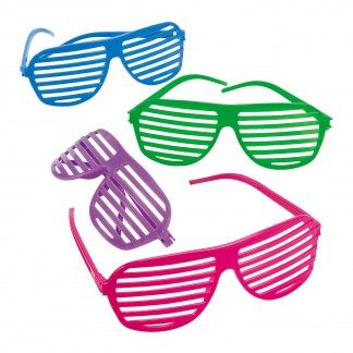 Pack of 12 shutter shade glasses.Who could forget these iconic 80's shutter shade glasses, they are still as popular and fun today and this pack is sure to be a crowd pleaser at your next party.Shutter shade glasses are perfect for use with almost any party theme, but especially suit an 80's party, Disco party, or Rock n Roll party.Pop shutter shade glasses into treat bags as a party thank-you, or hand out to each guest to wear before the party. Glasses would be great for use as party prizes…