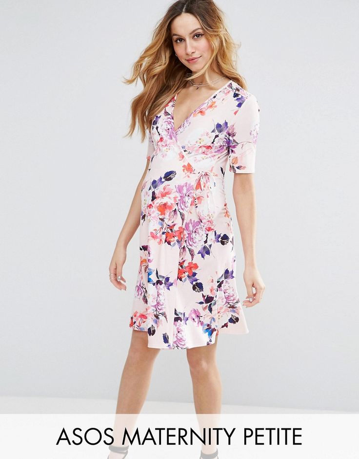 Buy it now. ASOS Maternity PETITE NURSING Mini Tea Dress in Pink Base Floral - Multi. Maternity dress by ASOS Maternity PETITE, Smooth stretch fabric, Floral print, Plunge neck, Wrap design ideal for nursing, Tie detail, Regular fit - true to size, Designed to fit through all stages of pregnancy, Machine wash, 96% Polyester, 4% Elastane, Our model wears a UK 8/EU 36/US 4. Stay chic throughout your pregnancy with the ASOS Maternity PETITE collection. Flatter your bump with dresses, jeans…