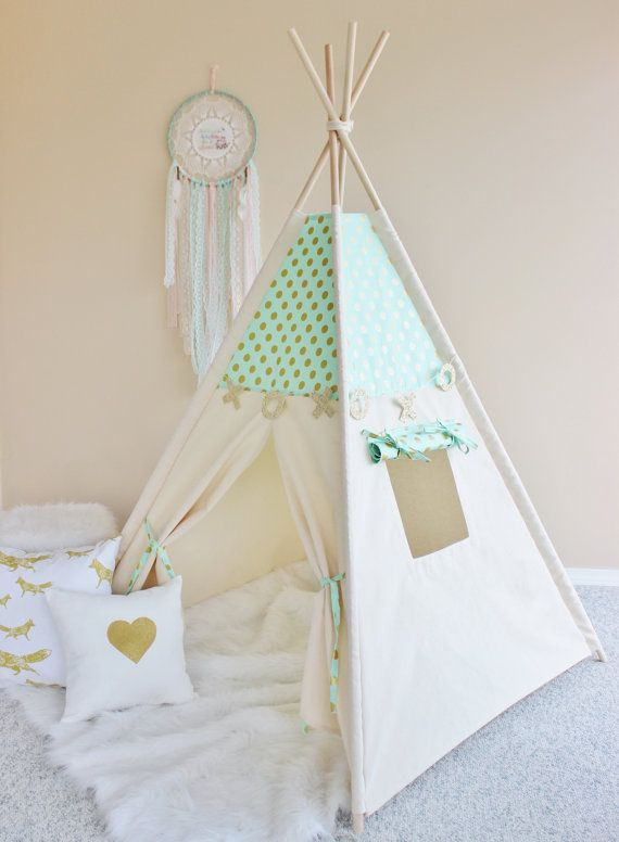 MINT with Gold Glamour Polka Dot with Canvas Play Tent Teepee Playhouse with Roll Up Flap Window