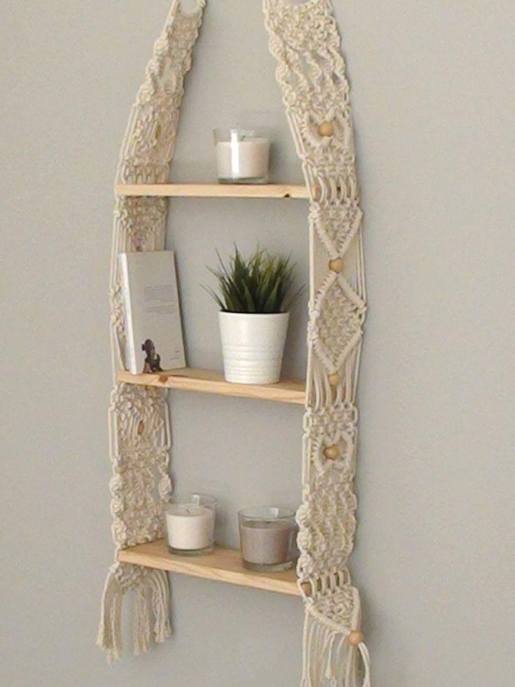 Unique Macrame shelf, triple Hanging Shelf, Wall Boho Chic, vintage Home Decor, floating wood modern crochet shelf, Three woven rope shelves