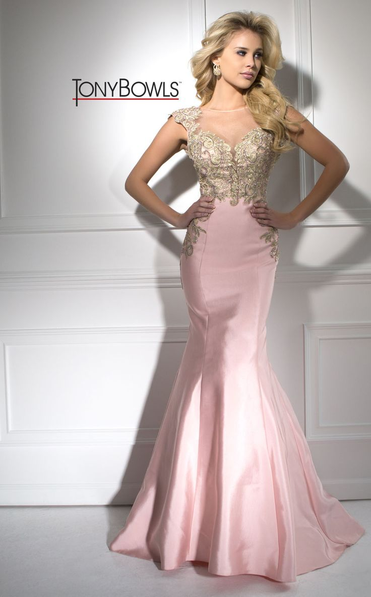 English Rose Prom Dress With Gold Accents. This Dress Is Mermaid Style Bottom With An Open Back
