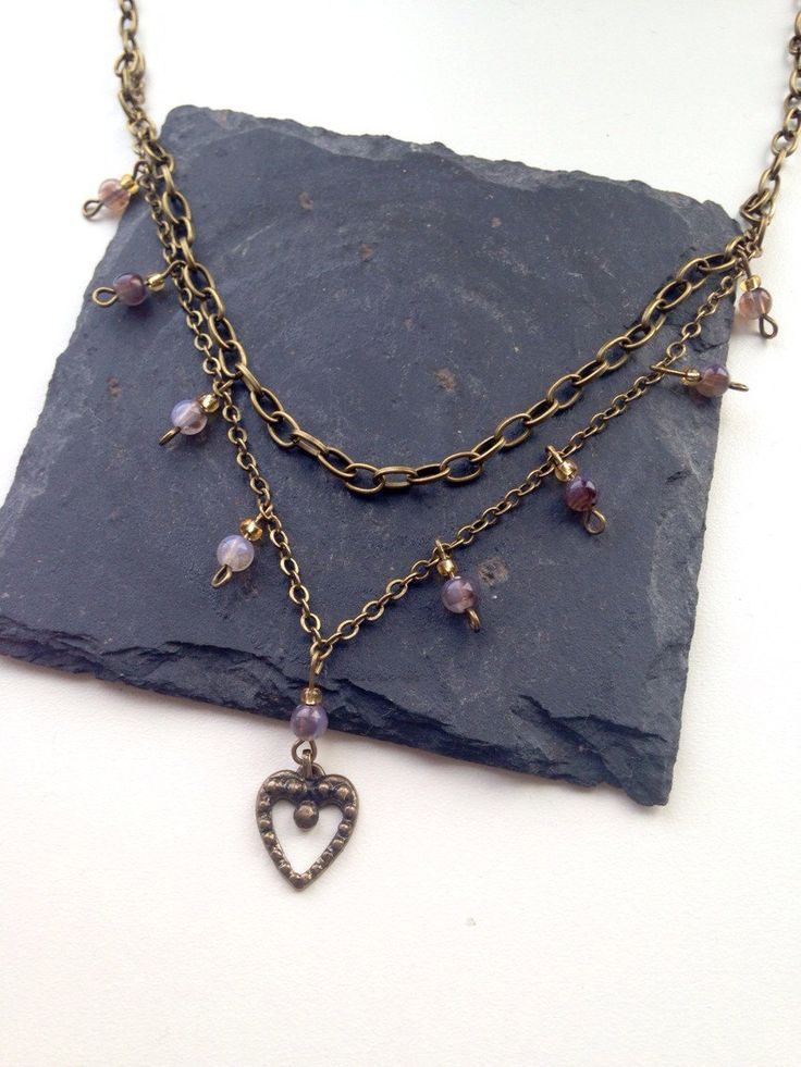 Heart Pendant 2 Chain Necklace by AvasAccessories1 on Etsy