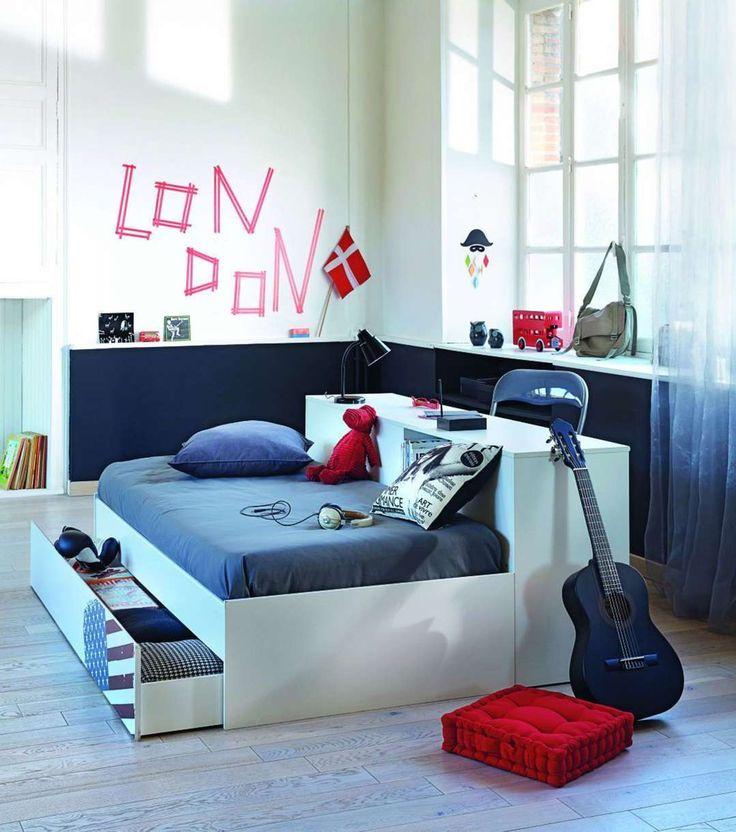 chambre ado garcon bleue et blanche lit tiroir alinea - Photo Chambre Pour Adolecen De 16ans Bleu