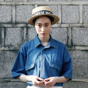 [Street Denim Shirt] A boxy fit #denim, #denimshirt featuring chest pockets. Basic collar. Half sleeves. #denimfashion #casualfashion #streetfashion