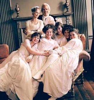 Pride and Prejudice (2005) - the Bennet family dressed for the Netherfield Ball.