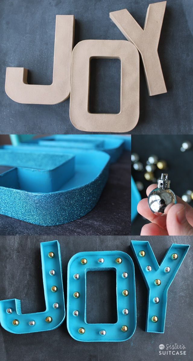 DIY Glitter Marquee letters, made with mini ornaments instead of lights! #festive #diy #glitteratmichaels