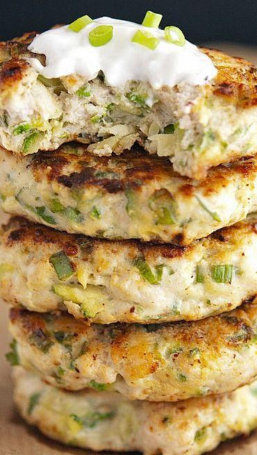 #KatieSheaDesign ♡❤ ❥▶  Turkey Zucchini Burgers with Lemon Yogurt Sauce