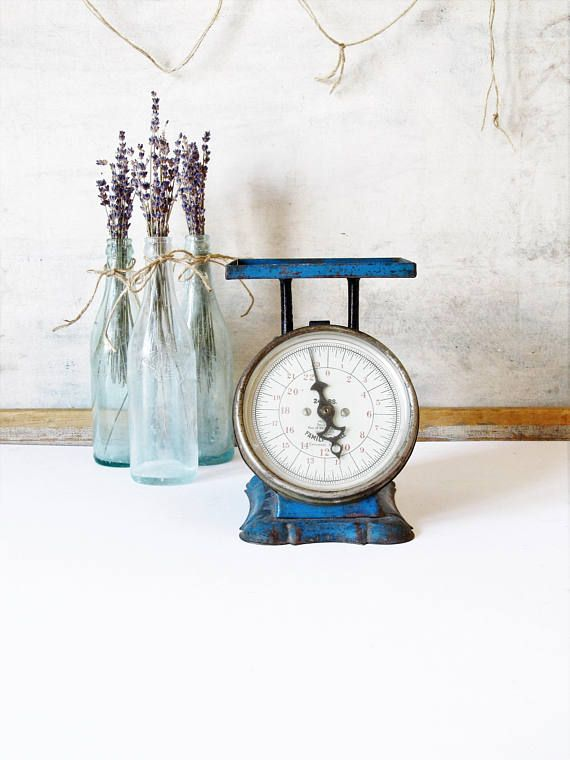 Vintage metal kitchen scale rustic kitchen scale blue scale