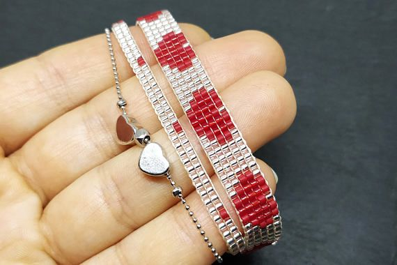 Valentine's day bracelet with two hearts Loom beaded