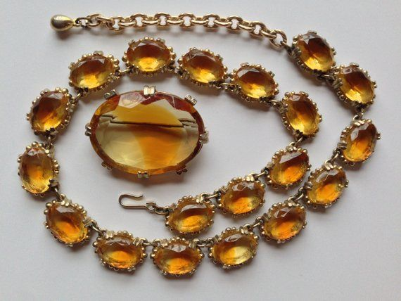 Vintage bi-colour purple amethyst and yellow citrine glass crystal riviere necklace by Sphinx