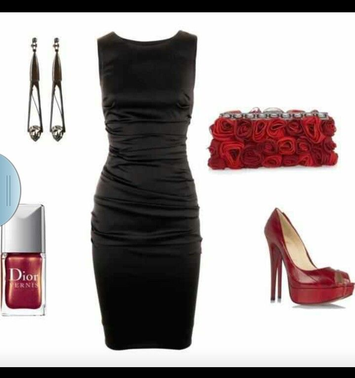 Black dress red shoes what jewelry pierces