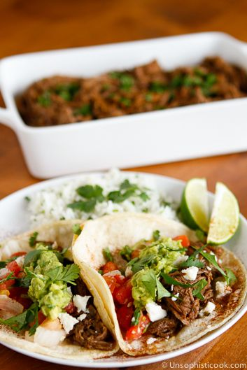 Slow Cooker Beef Barbacoa Recipe -- this copycat Chipotle slow cooker beef barbacoa recipe smells ah-mazing and tastes even better! | via @unsophisticook on unsophisticook.com