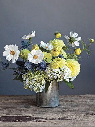white hydrangea, thistle, dahlia, cosmos