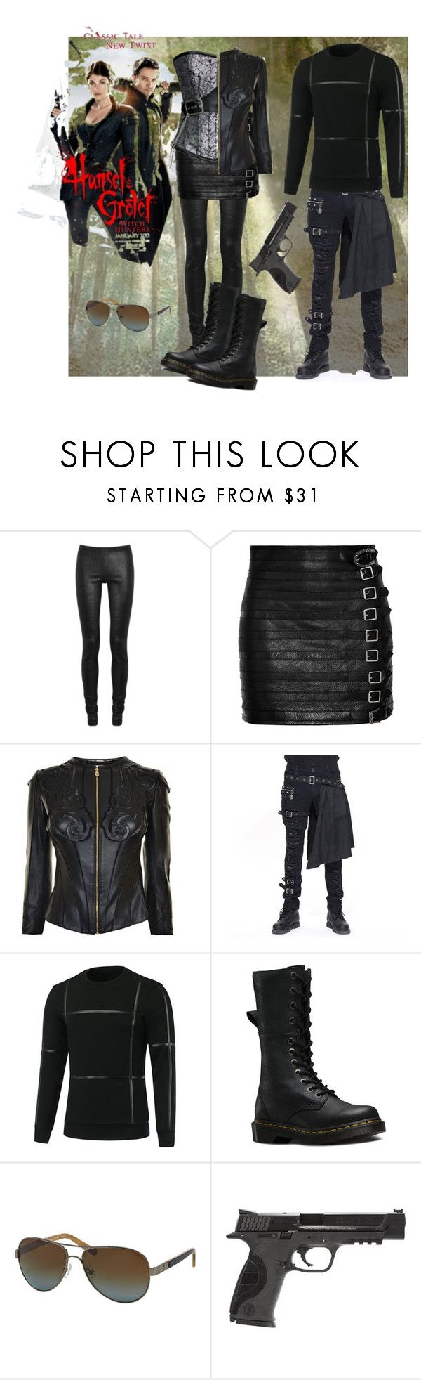 """""""Hansel & Gretel - Witch hunters"""" by cristinaconst ❤ liked on Polyvore featuring Rick Owens, Gucci, Versace, Dr. Martens, Tory Burch and Smith & Wesson"""