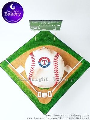 Texas Rangers Baseball Themed Cake. Complete customized cake board and vintage style scoreboard.