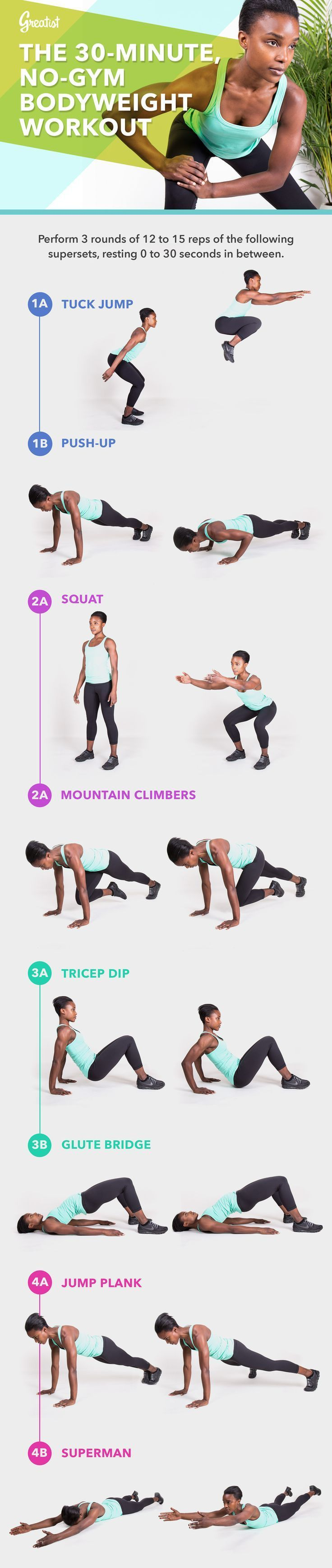 30-Minute Home Bodyweight Workout — Can't get to the gym today? No problem. This quick home workout will get you working just as hard. #bodyweight #workout #fitness #greatist