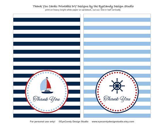 Printable Nautical Thank You Cards / Thank You Notes - Nautical Party Collection - EyeCandy Design Studio