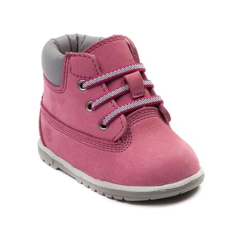 Shop for Crib Timberland 6 Hard Sole Bootie  in Fuchsia at Journeys Kidz. Shop today for the hottest brands in mens shoes and womens shoes at JourneysKidz.com.This adorably rugged kids bootie is designed for the next generation of Timberland fans. Crafted for warmth and comfort, these look like Timberland boots but feature soft materials perfect for kids footwear.Details Premium full-grain leather upper Fixed bungee laces for easy onoff Padded collar for a comfortable fit around the ankle…