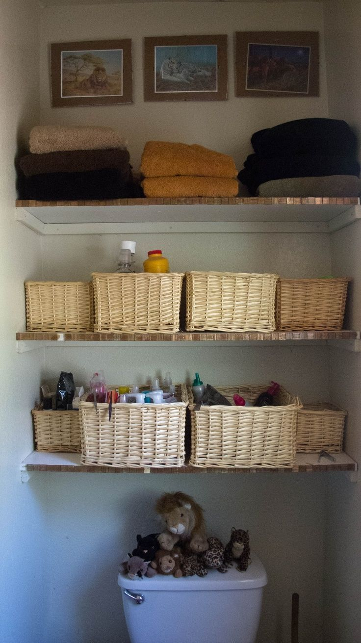 Added shelves above the toilet in the bathroom…  This OLD house (build in 1925…   – most beautiful shelves