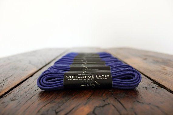 Dark Purple Shoe Laces  Fine waxed cotton by BootAndShoeLaces