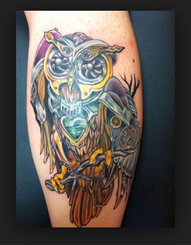 steampunk owl by todd wilson at icon tattoo piercing
