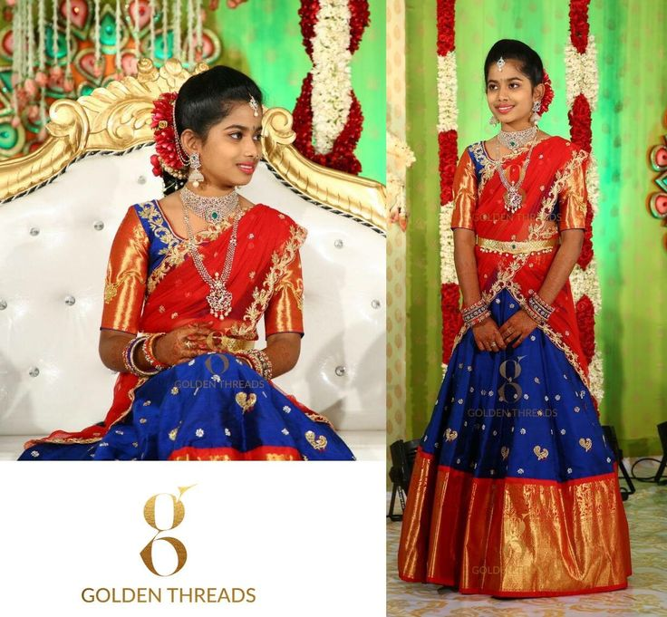 Red and blue half saree