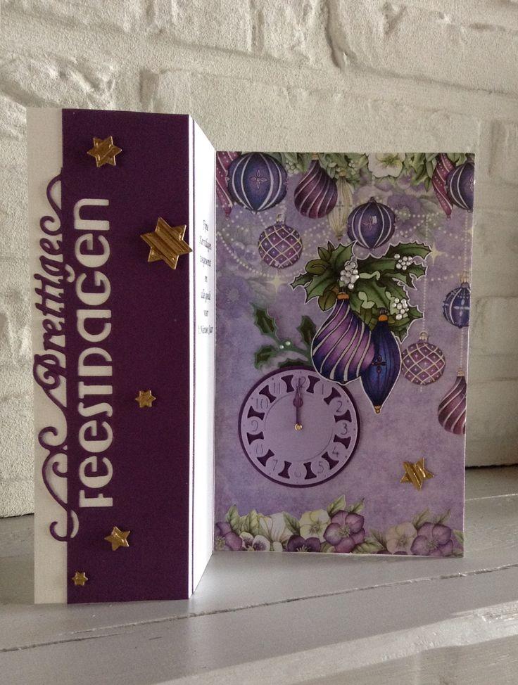 "Die'sire Edge'able ""Prettige Feestdagen""-Klok MD Cr1234 -Clearstamp en papier Craft Emotions Purple Holiday-Ingekleurd met Derwent kleurpotloden"
