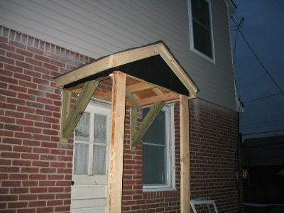 New Side Door Overhang in progress. & 16 best Wood Awning images on Pinterest | Front doors Back doors ... Pezcame.Com
