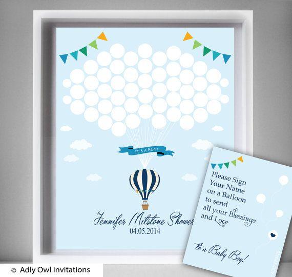 Hot Air  Balloon Guest Book Printable Alternative and  Hot Air  Balloon Wall Art for Baby  Balloon Shower DIY  blue   Up Away  -aa58bs27