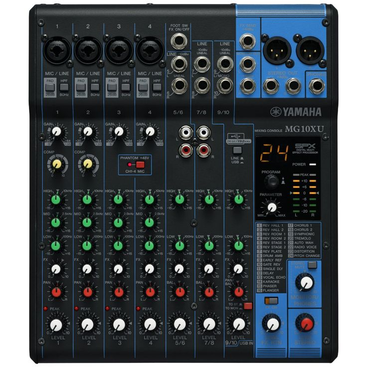 Amazon.com: Yamaha MG10XU 10 Input Stereo Mixer (with Compression, Effects, and USB) w/ Cables: Musical Instruments