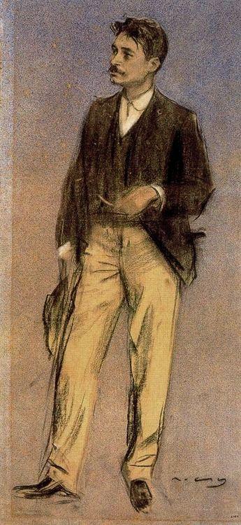 Ramón Casas (Catalan-Spanish, 1866-1932), Retrato de Lluís Millet, 1897-99. Charcoal, watercolour and pastel, 62.2 x 30cm. Museu Nacional d'Art de Catalunya. Barcelona.