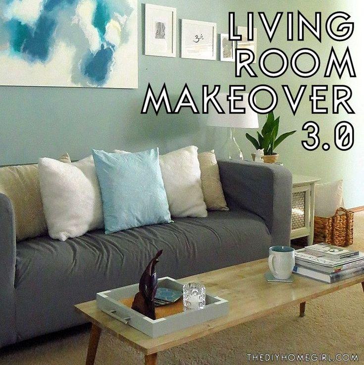 Living Room Makeover aqua gray silver gold white natural beachy eclectic MCM decor The DIY Homegirl