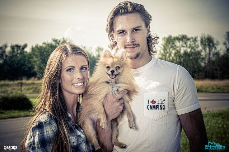 Ottawa Senators: Erik Karlsson, his wife, Therese, and their dog, Nemo, for the Pets With Personalities calendar