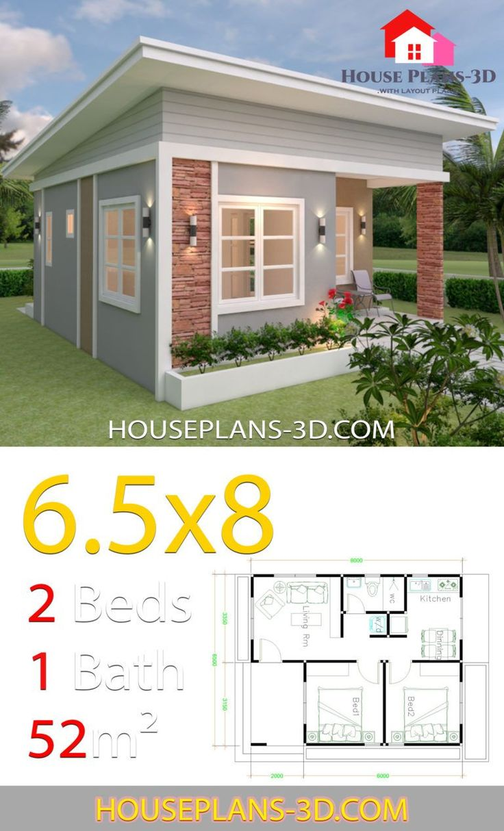 House Design Plans 6.5x8 with 2 Bedrooms Shed Roof House