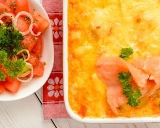 Gratin de pommes de terre au saumon fumé et fromage blanc : http://www.fourchette-et-bikini.fr/recettes/recettes-minceur/gratin-de-pommes-de-terre-au-saumon-fume-et-fromage-blanc.html