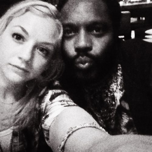 Emmy Kinney (Beth) and Chad L. Coleman (Tyrese) on the set of The Walking Dead. #TWD