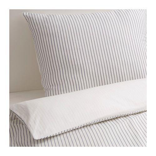 IKEA - RÖDNARV, Enkelt sengesett, 150x200/50x60 cm, , Sengetøy i bomullssateng er svært mykt og behagelig å sove i, og har en vakker glans som gjør det dekorativt på sengen.Glidelåsen holder dyna på plass.Du kan enkelt variere stilen på soverommet med dette dynetrekket, for de to sidene har ulike mønstre.