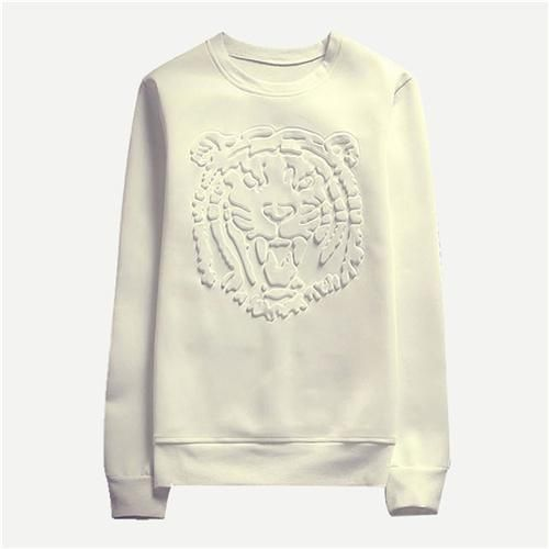Men Beige Solid Tiger Print Sweatshirt Mankind Clothes 2019 Casual Autumn Long Sleeve Male Clothing Mens Pullovers Beige 4XL