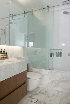 Marble & Glass small bath Apartment Interior Fitout modern bathroom  nLove the all glass shower