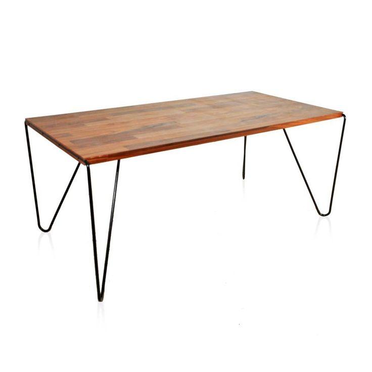 Mesa jantar 6 lugares ou de trabalho, base em metal maciço com pintura epóxi, tampo em pau ferro. Fabricação Desmobilia.Dimensões: Largura 140 cm   Profundidade 92 cm   Altura 75 cm.