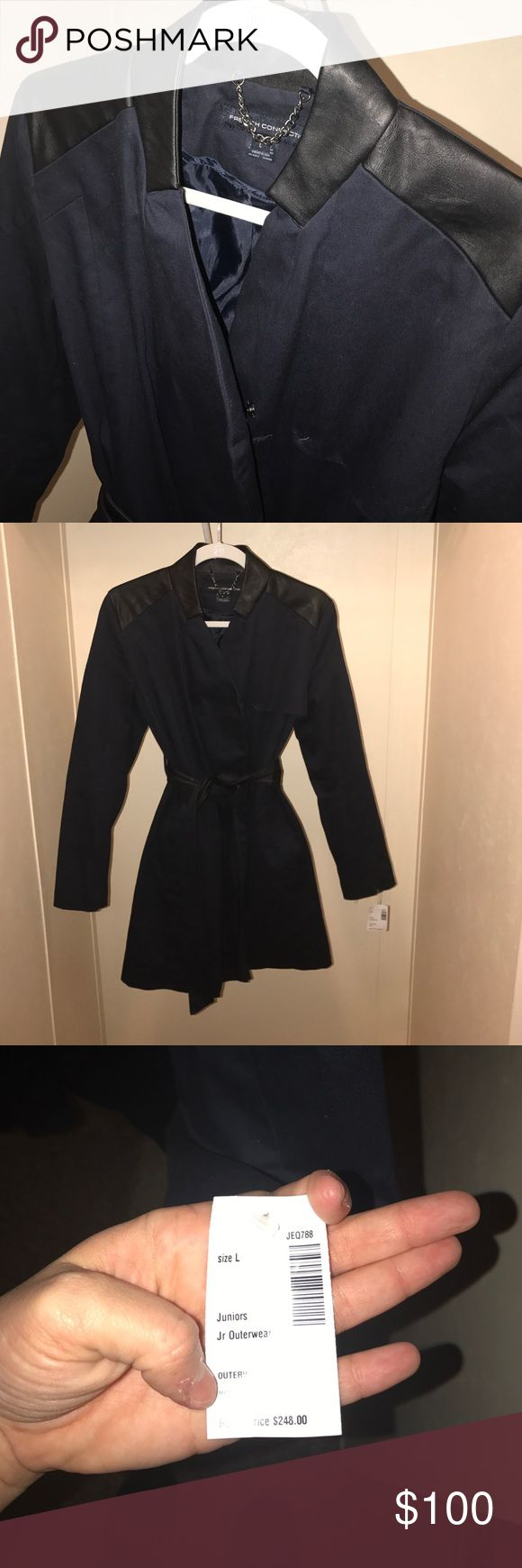 French Connection Trench Coat This is a brand new with tags attached navy and black French connection trench coat that is knee length the coat is navy with black fax leather detailing and black lining this is a rare find for the price get it while it's still here French Connection Jackets & Coats Trench Coats