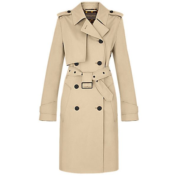 Gabardine Cotton Trench Coat ❤ liked on Polyvore featuring outerwear, coats, button trench coat, double-breasted trench coat, cotton trench coat, beige trench coats and gabardine coat