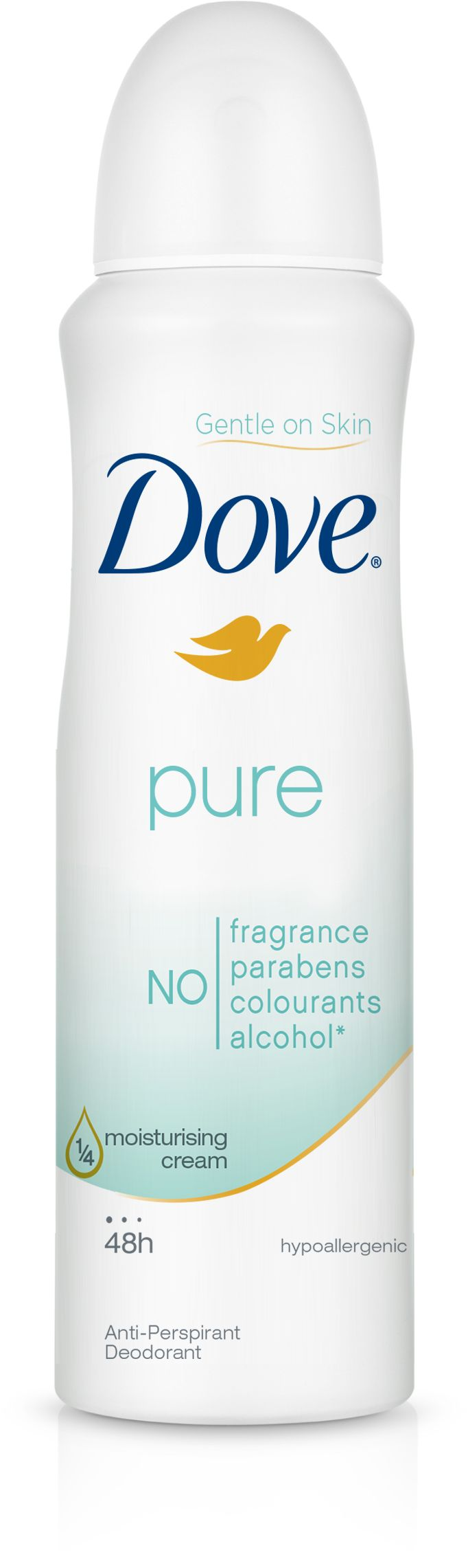 Dove Pure Deodorant Aerosol is free of parabens, fragrance, colourants and alcohol to contain only the essential ingredients to keep underarms feeling dry and lo...