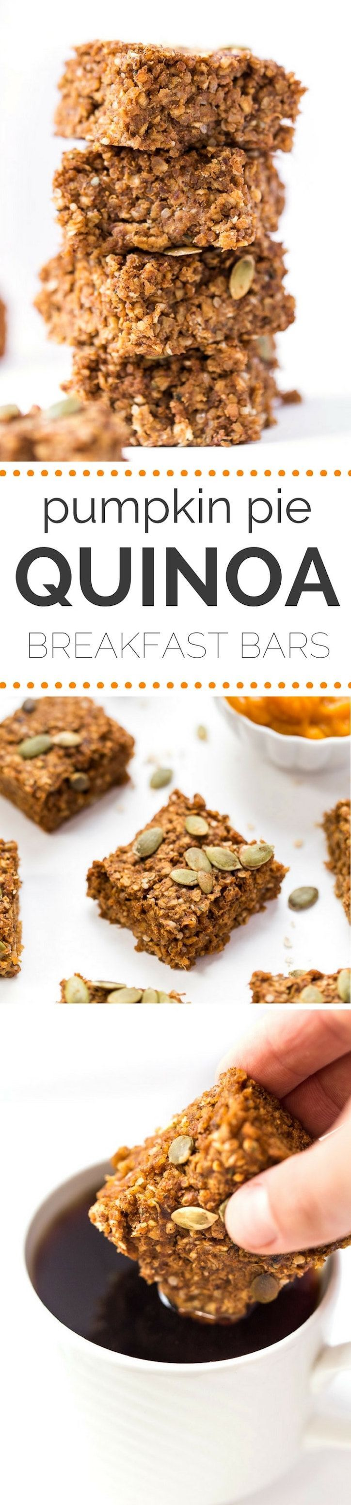 Gluten Free Pumpkin Quinoa Breakfast Bars (V, GF): a one bowl recipe for simply delicious pumpkin quinoa breakfast bars packed with protein to kick start your morning!