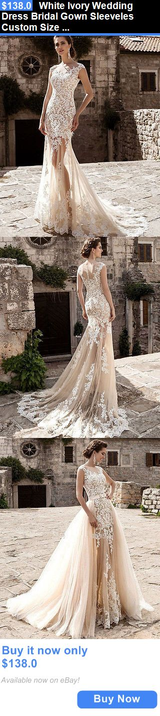 Wedding Dresses: White Ivory Wedding Dress Bridal Gown Sleeveles Custom Size 4 6 8 10 12 14 16 18 BUY IT NOW ONLY: $138.0
