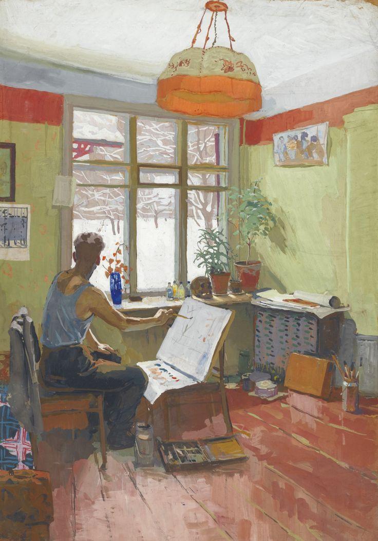 Viktor Popkov (Russian, 1932-1974), Winter Studio, 1959. Gouache on card, 106 x…