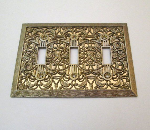 Vintage Light Switch Cover Filigree Decorative Switch Plate Triple Toggle Switch Cover Th Vintage Light