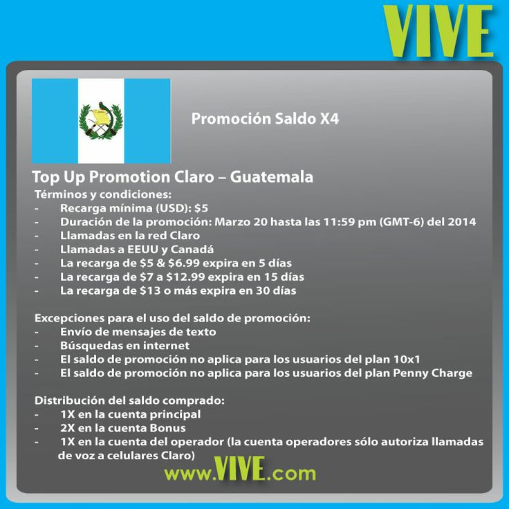 """#HOY aprovecha la promoción """"Saldo 4x"""" y envía una #recarga #móvil a #Claro #Guatemala Visita www.vive.com para más detalles y más promociones!"""