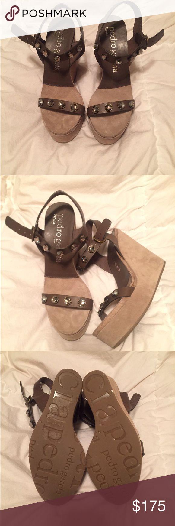 Wedge sandals Pedro Garcia suede wedge heels. Never worn! Pedro Garcia Shoes Sandals